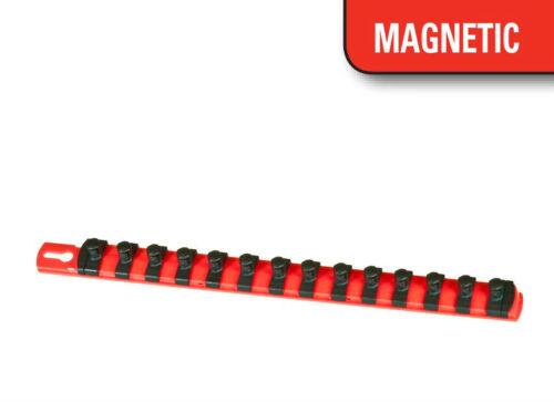 "Red Ernst 8414M 13/"" Magnetic Socket Organizer w// 15 1//4-Inch Twist Lock Clips"