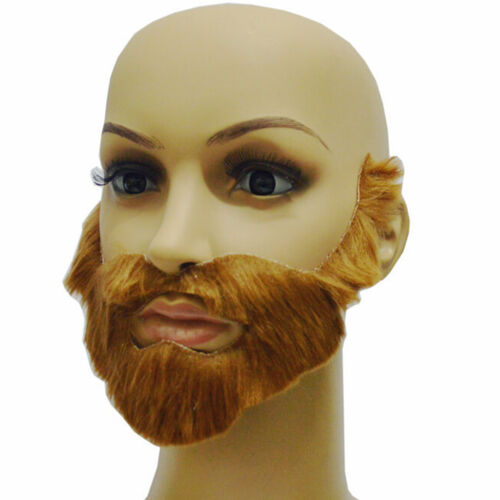Cosplay Costume Party Male Halloween Beard Facial Hair Disguise Brown MustachB$T