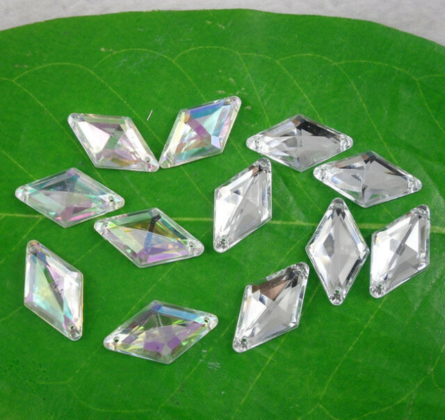steeple faceted rhombus 14X24mm Acrylic Crystal flat back sew Rhinestone