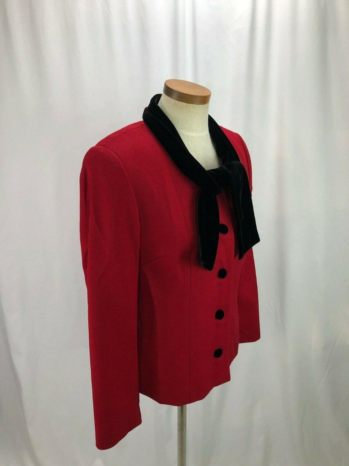 Talbots Women's Red Wool Blazer Velvet Collar 6 - image 2