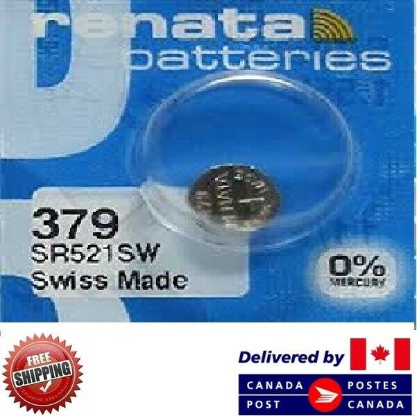 1 PC Renata 379 Watch Batteries 0% MERCURY SR521SW Swiss Made CDN SELLER
