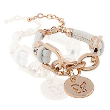 White PU Leather & Gold Rhinestones Wrap Butterfly Charm Bracelet BB70