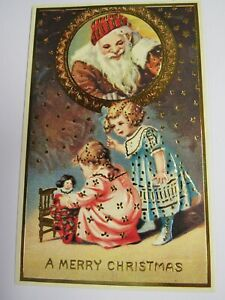 Shackman Antique Reproduction Christmas Postcard Little Girls With Doll