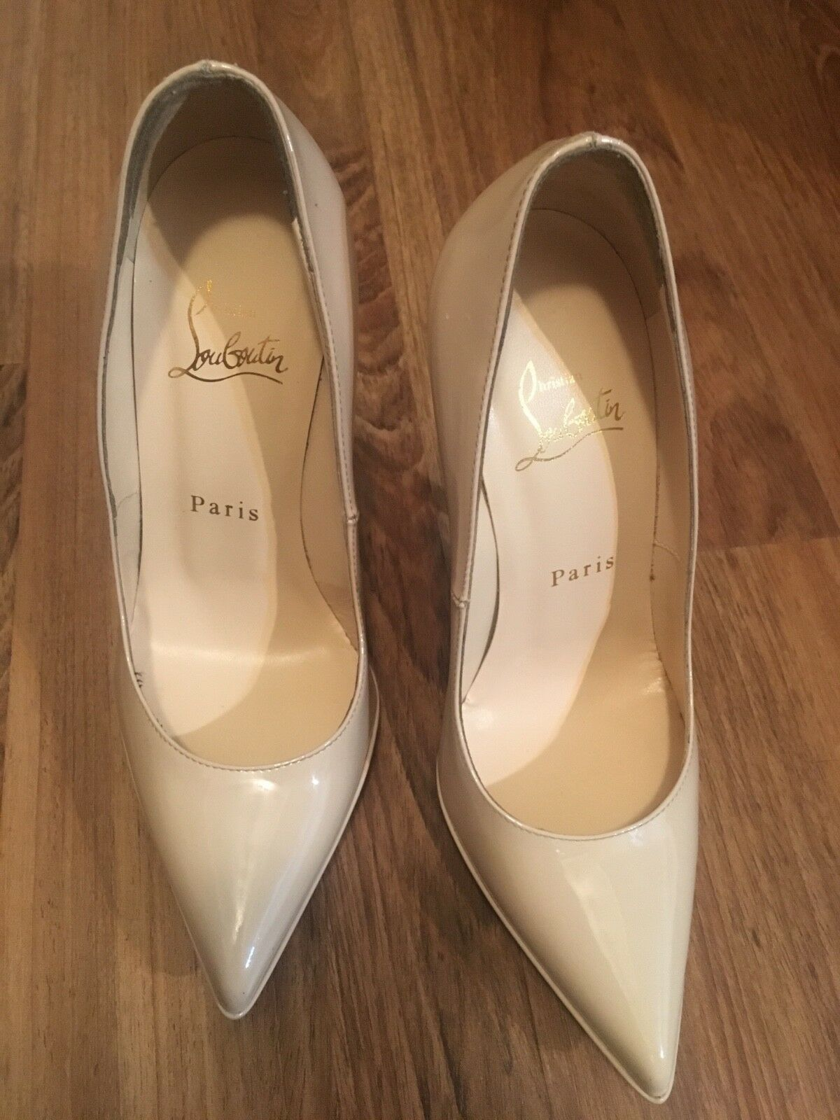 Christian louboutin 18 pump pigalle plato nude patent 36 1 2 original price  795