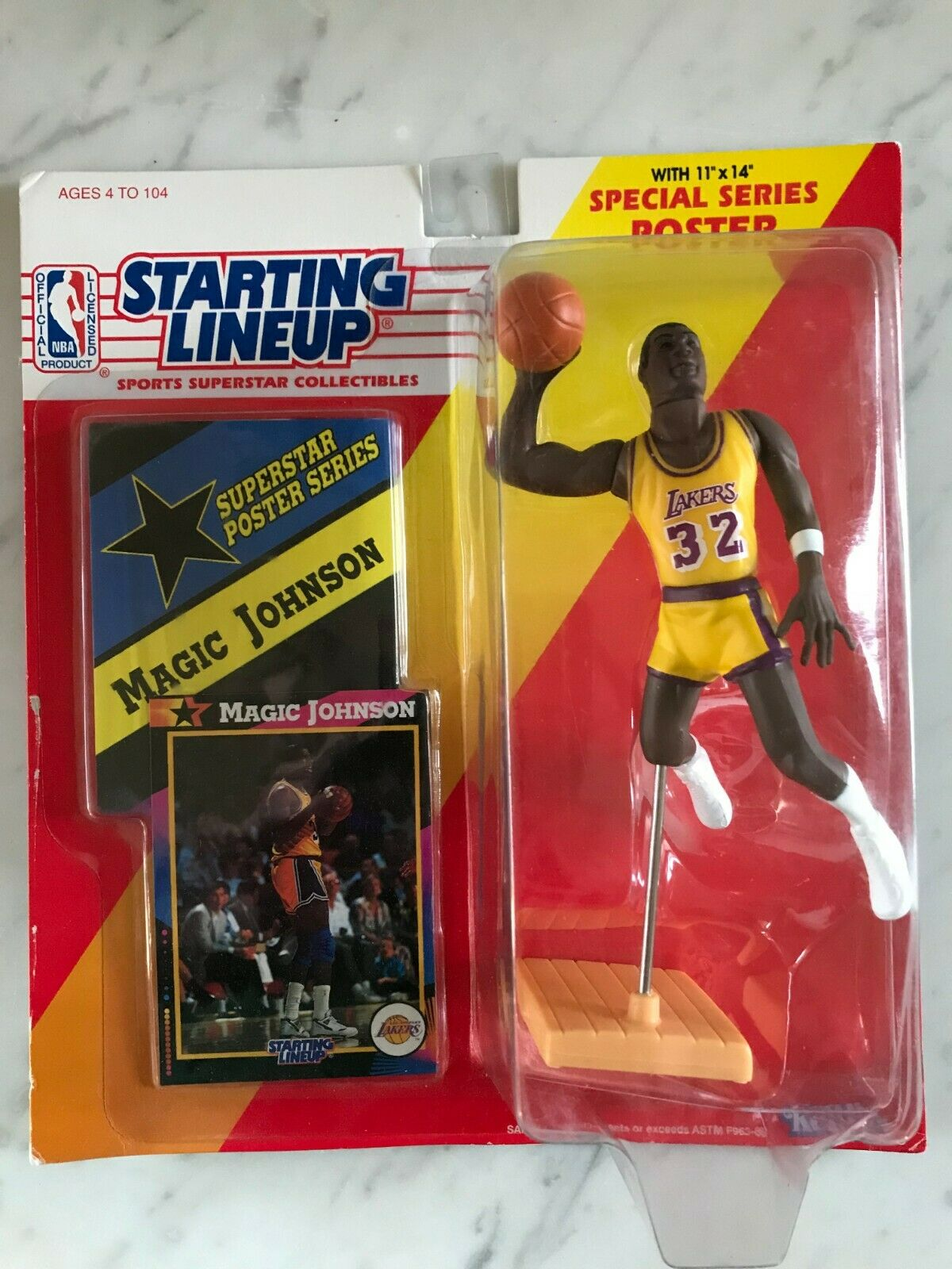 Vintage 1992 Kenner Starting Lineup NBA HOF Magic Johnson Rare Yellow Uniform