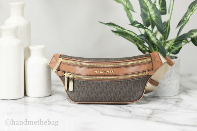 Michael Kors Kenly Small Brown Signature Belt Waist Fanny Pack Crossbody Bag