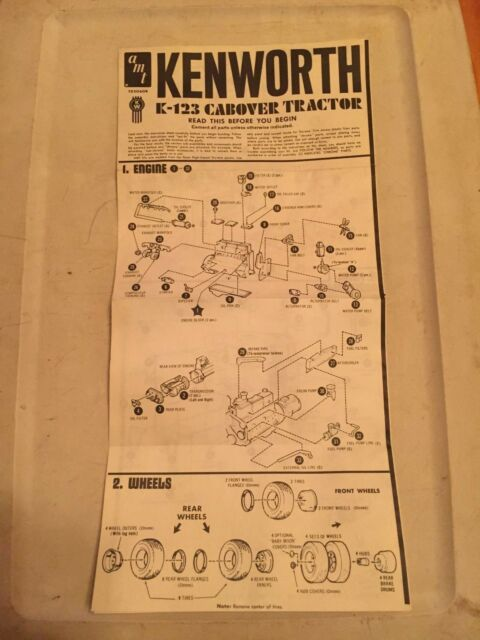 Amt Instructions Model Truck Semi Kenworth K 123 Cabover Tractor