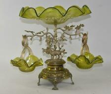 Victorian Silver Plate Tree Form Epergne 3 Art Glass bowls Figural Stag Austria