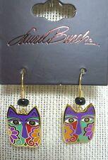 Laurel Burch Blossoming Feline Cat #5140 Gold Tone Drop Pierced Earrings New NWT