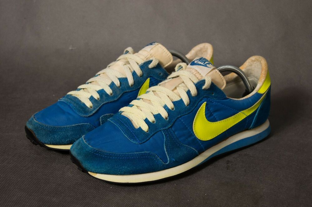 Men's Vintage 1982 Nike fonctionnement chaussures Sz 11 1/2 daim nylon bleu/jaune Corée-