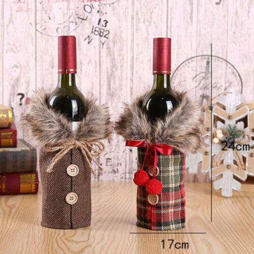 Christmas Wine Bottle Cute Cover Gift Bag Dinner Home Party Xmas Table Ornament