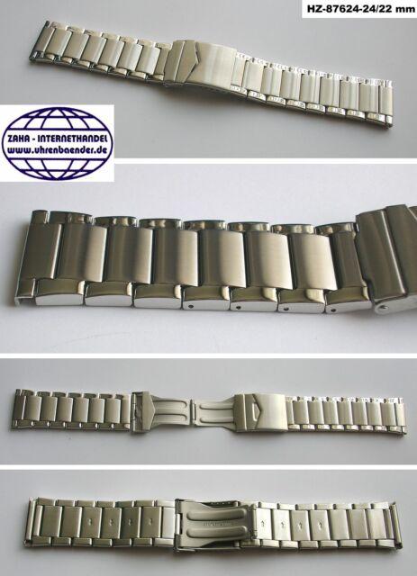 HERZOG 87624 Edelstahluhrenarmband Faltschließe Massivoptik Teilpoliert 24 mm