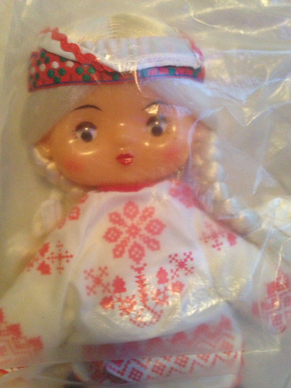 Vintage Muñeca Vestido étnico cultural polaco ruso plástico cara plana ojos de Google