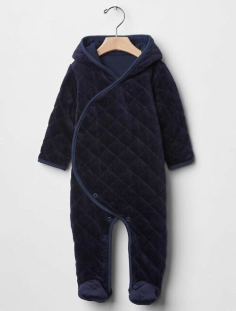 3c8253d08373 Gap Baby Boys 0-3 Months Navy Blue Quilted Velour Bear One-piece ...