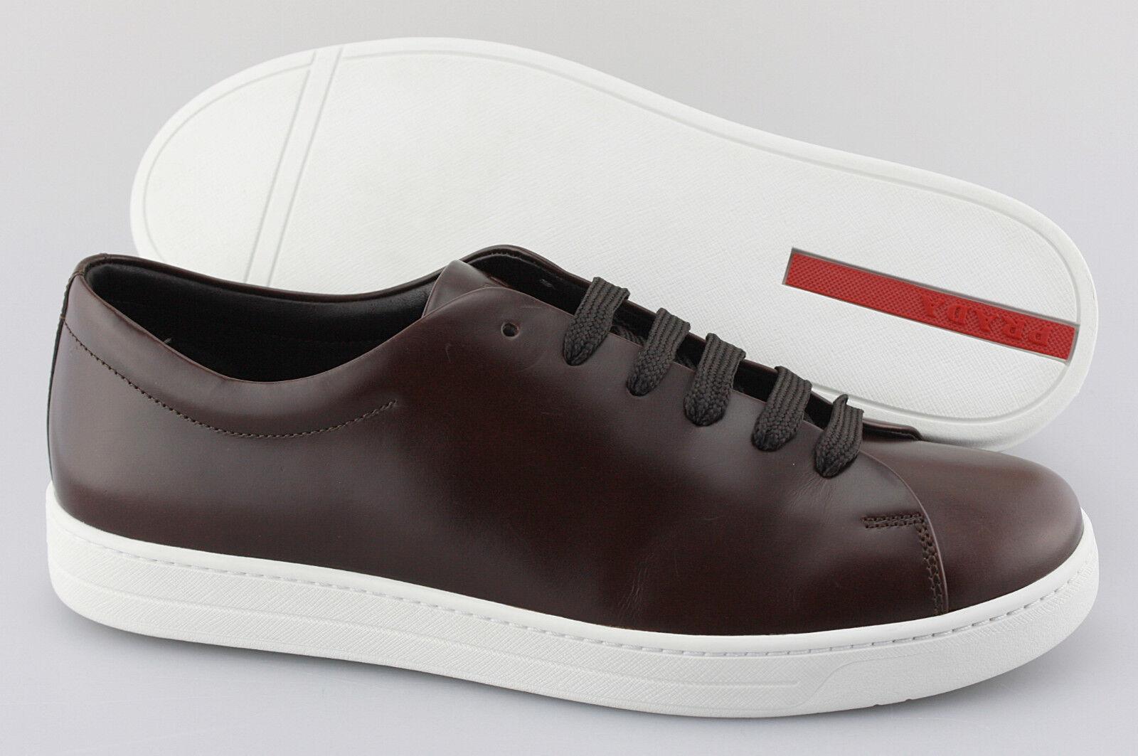 Men's PRADA 'Low-Top' Brown Leather Sneakers Size US 10 PRADA 9
