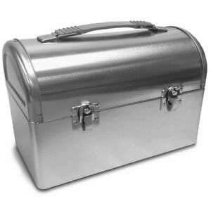 Plain Metal Dome Lunch Box - Silver - Worker Style Domed Lunchpail Lunchbox Pail