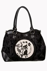 Cat Handtas Flocked kleding verboden Phoenix Rockabilly Kitty Black Gothic Floral vfg6bmI7yY