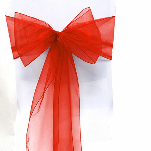 """100 Organza Chair Cover Sash Bows 8/""""x108/"""" 30 Colors Extra Wide Wedding Party"""