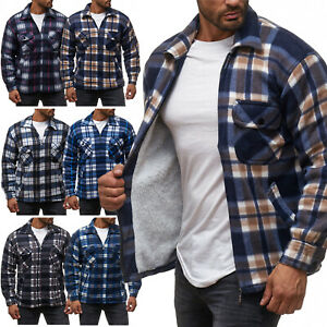 Messieurs-Decontractee-A-Carreaux-thermohemd-Doublure-Sweatshirt-Veste-flanelle-NEUF