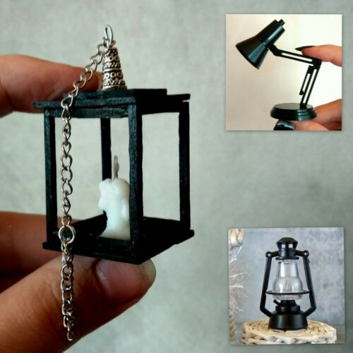 Miniature lantern sconce candle table lamp real lighting Halloween dollhouse 1:6