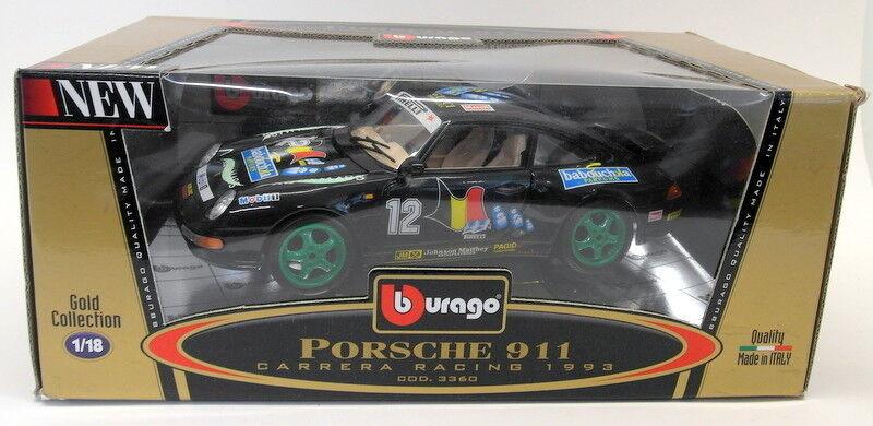 Burago 1 18 Scale Diecast 3360 Porsche 911 Carrera Racing 1993 negro Model
