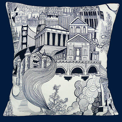 "City buildings and SMOKE STACK Housse de coussin 16/""x16/"" 40 cm Alexander Henry Cotton"
