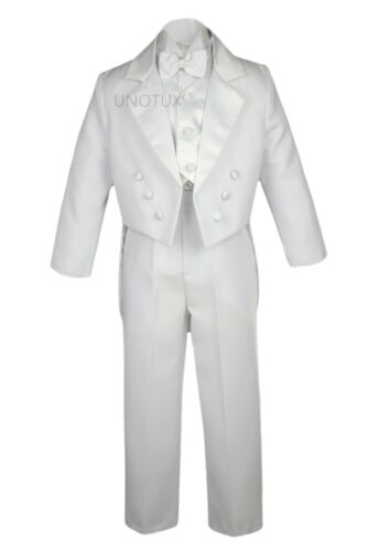WEDDING FORMAL White 5PC TAIL TUXEDO SUITs BABY INFANT TODDLER Kid Teen BOY S-20