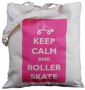KEEP CALM AND ROLLER SKATE - NATURAL COTTON SHOULDER BAG - Tote,shopping
