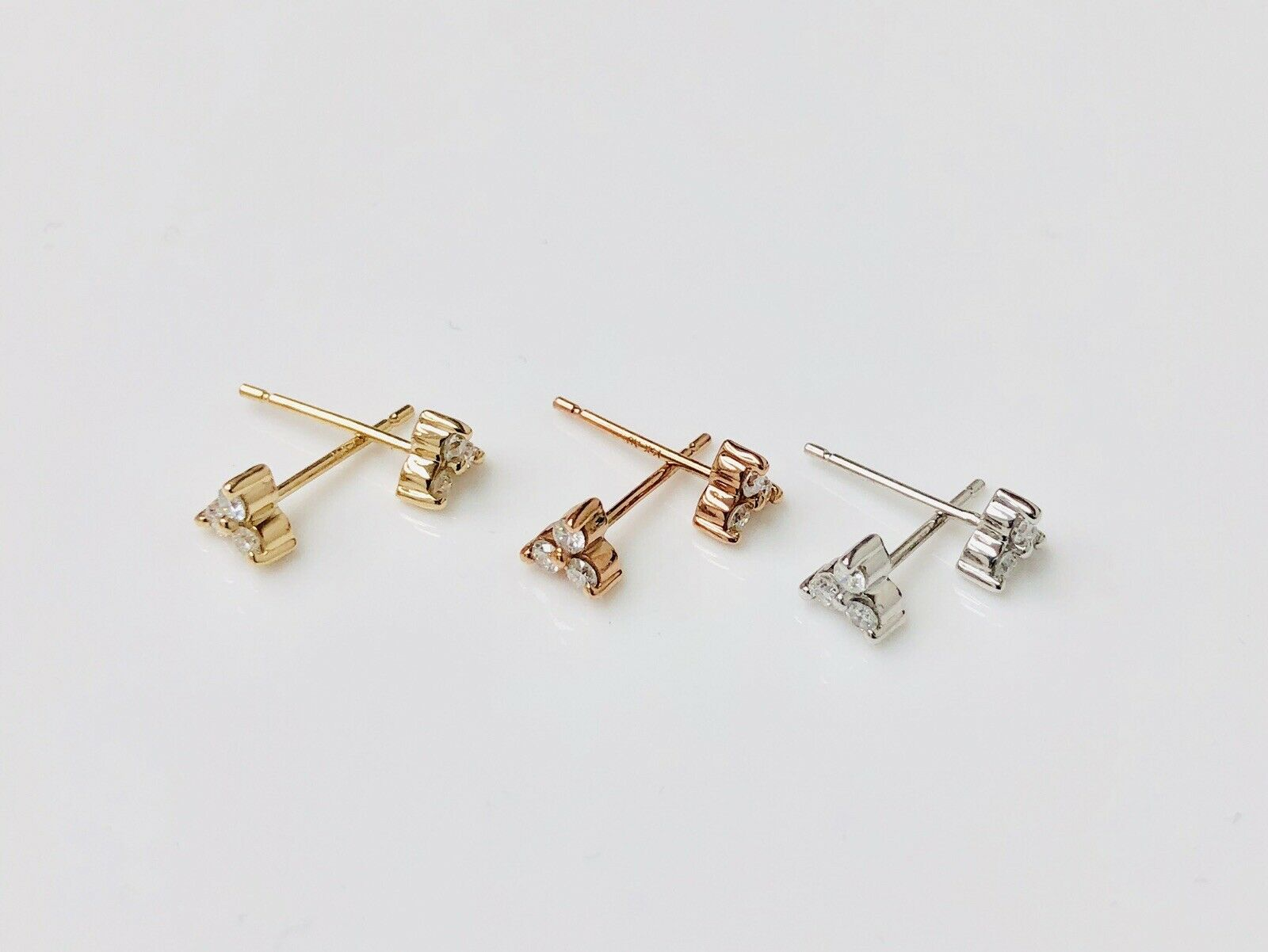 0.16ct Trinity Round Brilliant Trio Diamond Stud Earrings 14K White Yellow pink