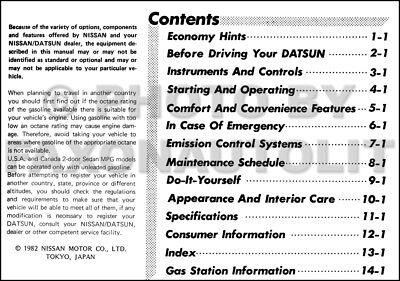 1982 Datsun Sentra Owners Manual Original Nissan OEM Owner
