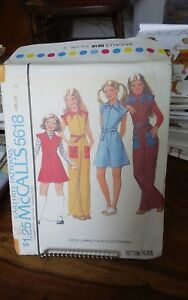 Vtg-1970s-Mccalls-5618-girls-zippered-jumpsuit-culotte-dress-sz-8-NEW