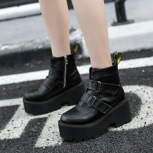 Women-039-s-Punk-Buckle-Chunky-High-Platform-Block-Heel-Ankle-Boots-Gothic-Shoe-Size
