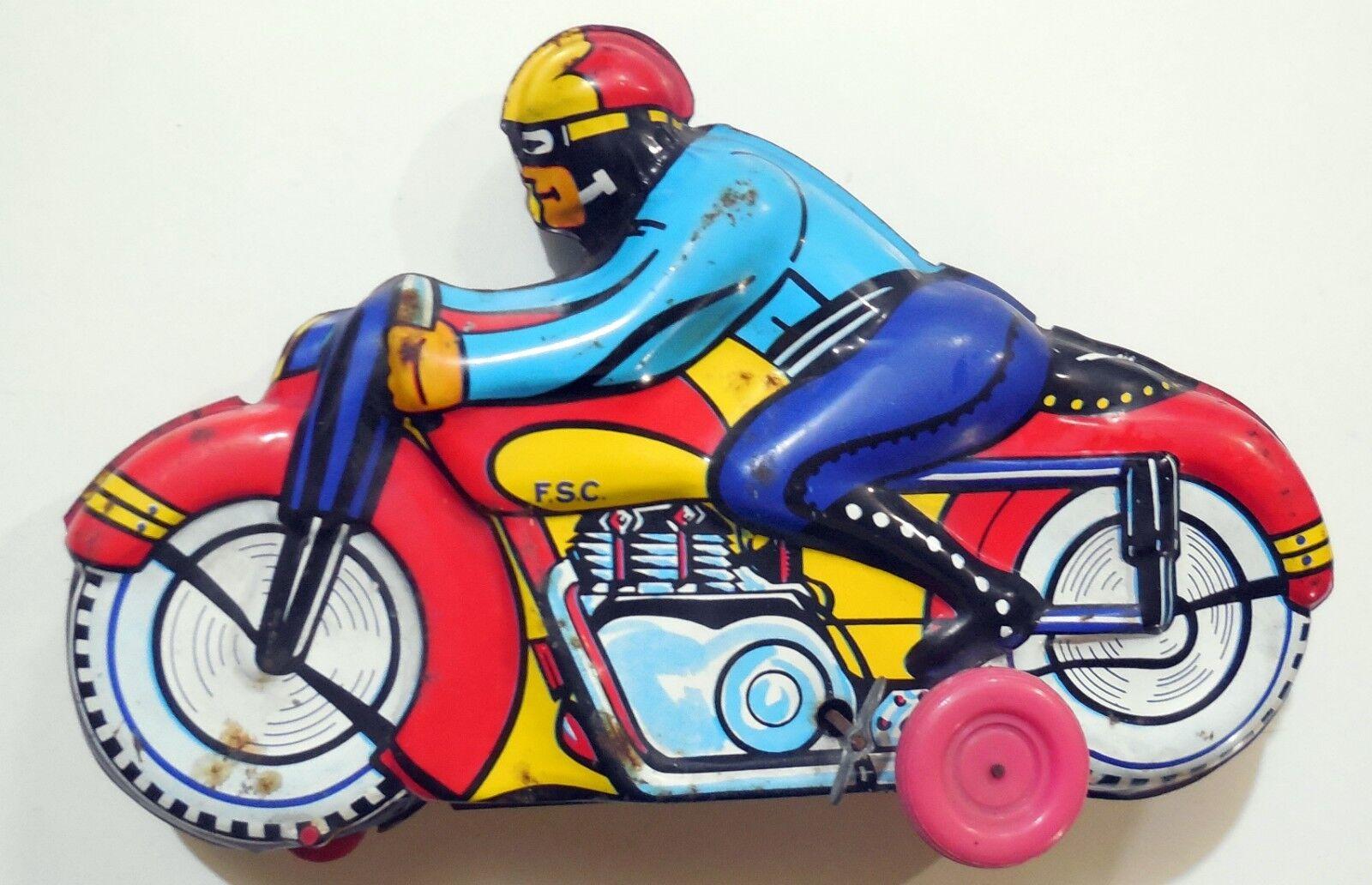 VINTAGE GIOCATTOLO LATTA WIND UP MOTO F.S.C. SIRO FERRARI MADE IN ITALY 1950-60