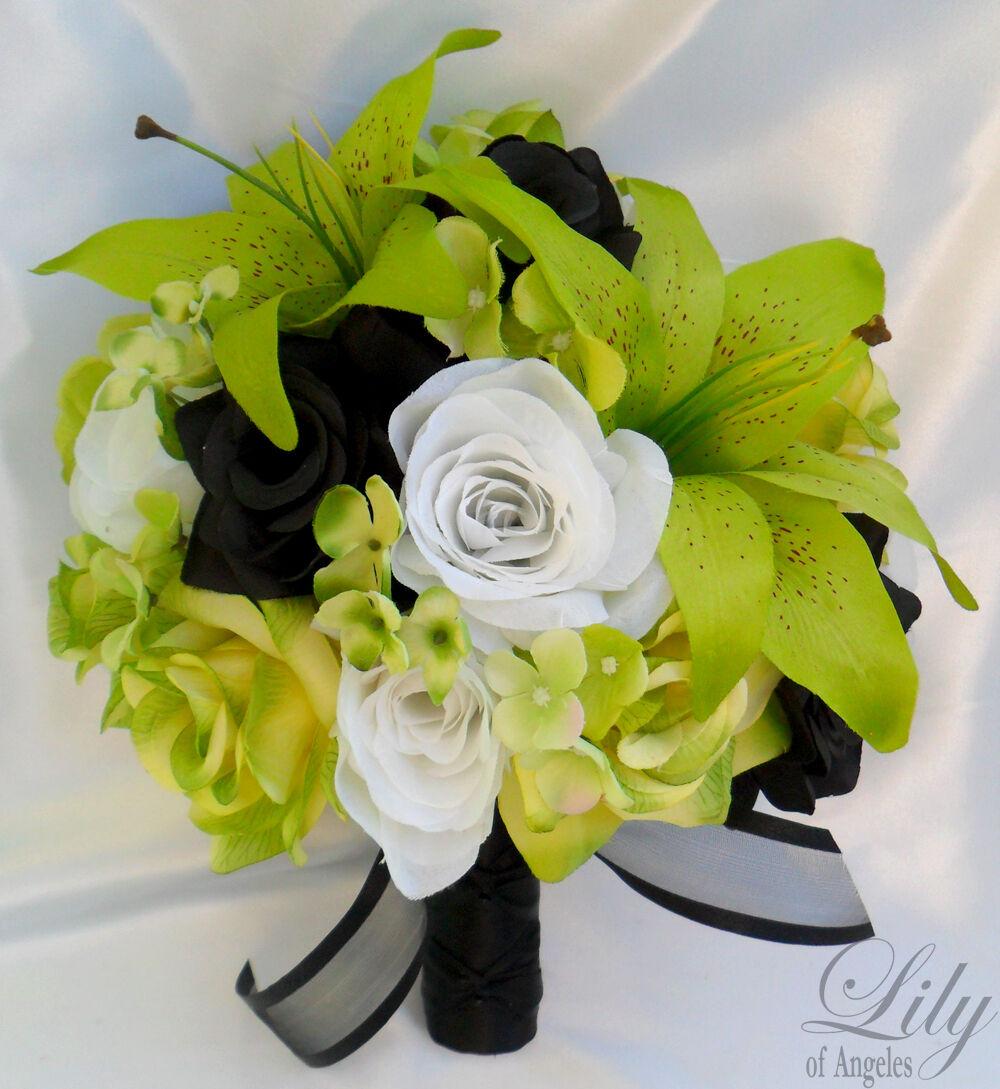 17pcs Robe de Mariage Bouquet Set Décoration Paquet Soie Fleur Noir Vert Lily