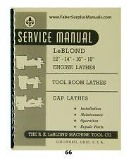 Leblond Engine Lathes 12 14 16 Amp 18 Service Amp Parts Manual 66