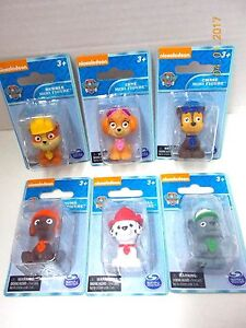 """PAW PATROL FIGURES TOYS /  Cake Toppers Set of 6 Nickelodeon 1.5"""" Tall-NEW Packs"""