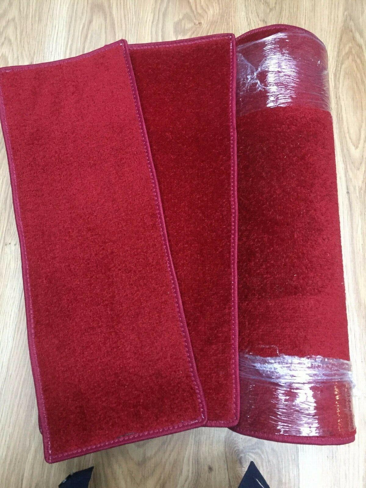 23 x 8.50 pollici (58 x 22 cm) X12 morbido pile rosso pregiato SCALA PADS + Tappeto  83