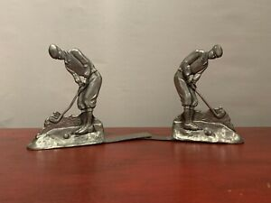 Seagull-Pewter-Man-Golfer-Book-Ends-Excellent-Condition-1991-Free-Shipping