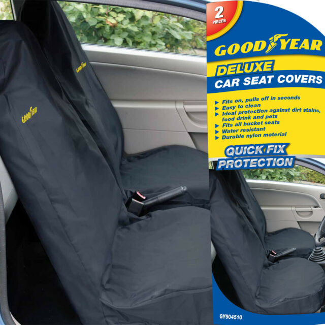 Goodyear 2 X Car Front Seat Covers Durable Water Resistant Protector Dirt Van *