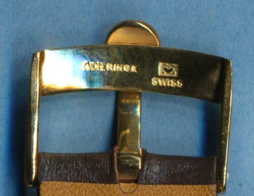 18mm Véritable Cuir Marron Très Rembourré MB Bracelet & Omega Boucle Doré