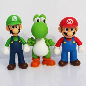 3pcs Super Mario Bros Yoshi Luigi Mario Action Figures Toys Set