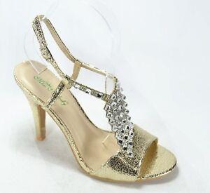 Sandalias-Zapatos-de-Salon-Estras-Oro-Oro-Numero-40-Tacon-10CM