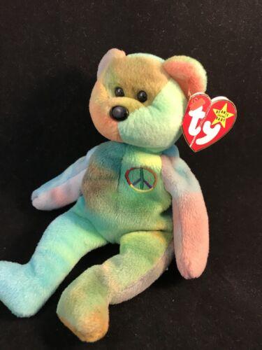 cbef90e8b07 3 of 8 RARE PVC Peace Bear 1996 Retired Ty Beanie Baby Genuine MINOR Errors