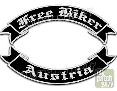 Aufnäher,BikerPatch, FREE BIKER - AUSTRIA  im Set 35cm gestickt! ALLE FARBEN!