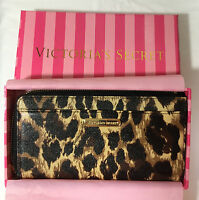 Victoria's Secret Leopard Animal Print Side Zip Wallet With Gift Box 2306