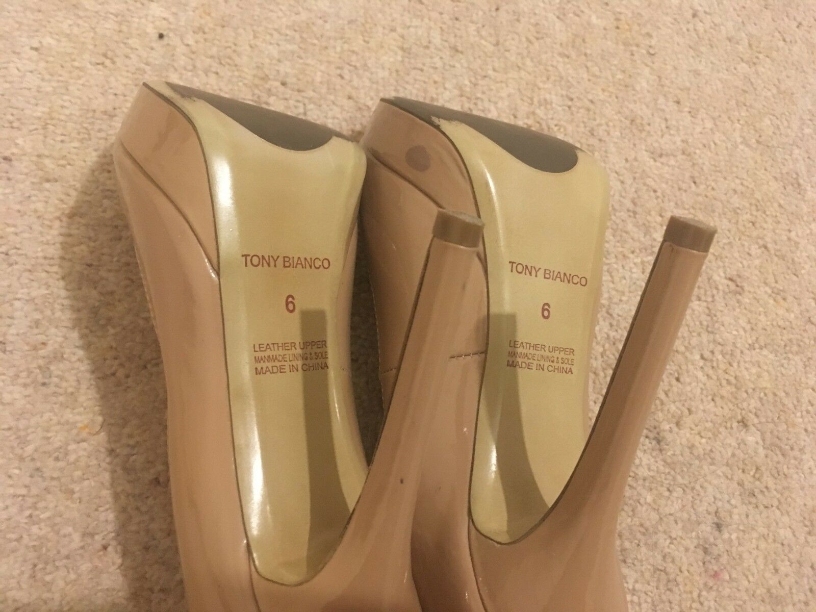 Tony Bianco Beige patent patent patent leather peep toe stiletto shoes UK 4 514d05