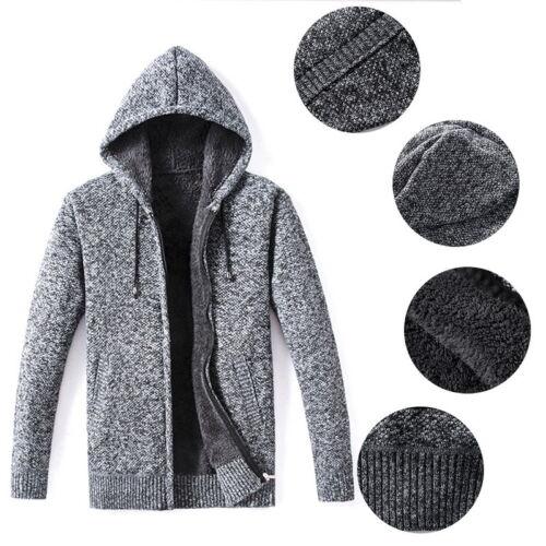 Mode Homme Tricot à Capuche Sweats à capuche chaud épais Sweats Casual Zipper Manteaux