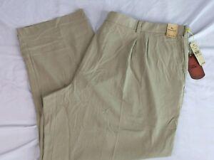 d221f967d72 Details about NWT Tommy Bahama Pants Flying Fishbone Silk KHAKI Pleated  Pants Mens Sz 50 X 30
