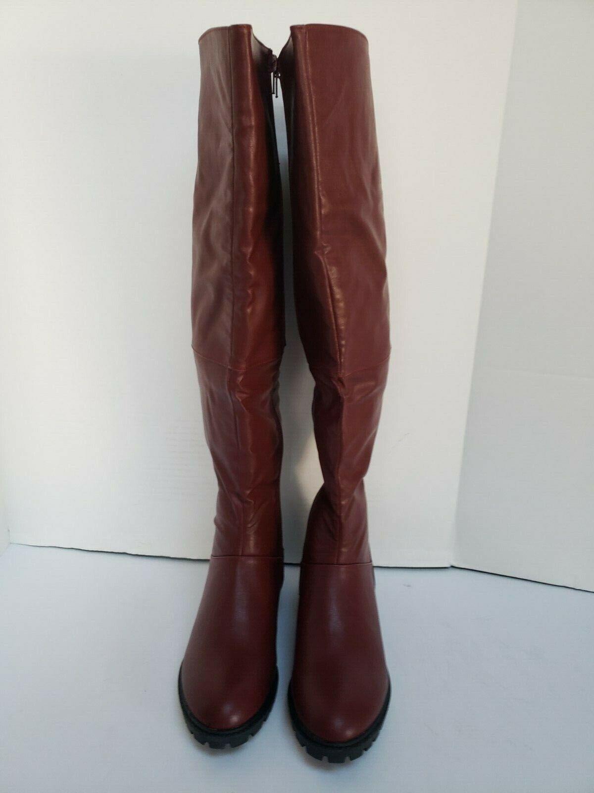 Nuevo Encantador Dama Para mujeres tramo becerro Borgoña Borgoña Borgoña Tacón bajo la rodilla botas altas talla 9  el mejor servicio post-venta