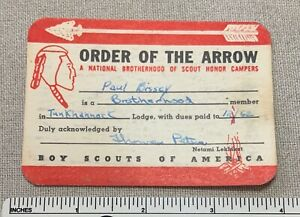 VTG 1962 OA TUNKHANNOCK Lodge 476 Order of the Arrow Membership CARD Brotherhood